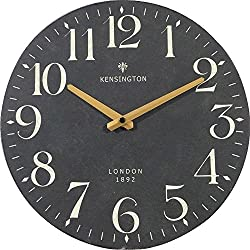 NIKKY HOME British Style Silent Quartz Analog Round Wall Clock 12'' x 12'' Black