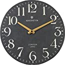 NIKKY HOME British Style Silent Quartz Analog Round Wall Clock 12'' x 12'' Black
