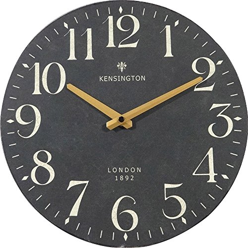 NIKKY HOME British Style Silent Quartz Analog Round Wall Clock 12'' x 12'' Black (Clock Wall French)