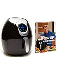 Air Fryer XL 5.3 QT Black Deluxe with Power Air Frying Hardcover Cookbook by Eric Theiss