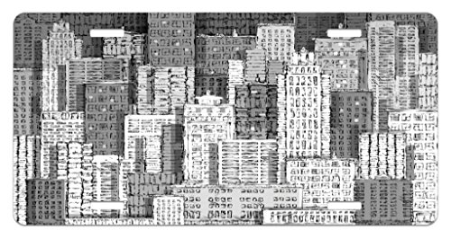 - Lunarable New York License Plate, High Buildings of Metropolitan Life Skyscrapers and Twin Towers, High Gloss Aluminum Novelty Plate, 5.88