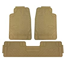 FH GROUP FH-F11309 Heavy Duty Rubber All Weather Floor Mats, Beige Color