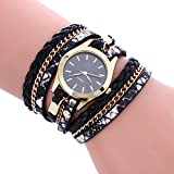 Womens Bracelet Watches COOKI on Sale Clearance Lady Watches Female watches Cheap Watches for Women-Q3 (Black)