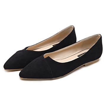 LJO Damen Sandalen Flache Ferse Sommer Spitz Mode Flacher Mund Schuhe