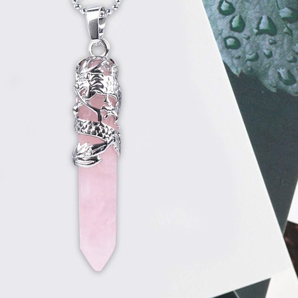 Tipo 8 Arichtop Unisex Hexagonal Piedra Natural de Cristal Colgante Collar de Cuello de Las Mujeres Collar de la joyer/ía