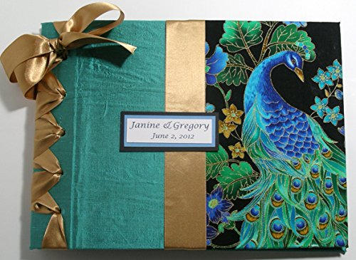 Peacock Wedding Guest Book - Peacock Wedding - Luxury Guestbook (Custom Colors Available) by Michelle Worldesigns