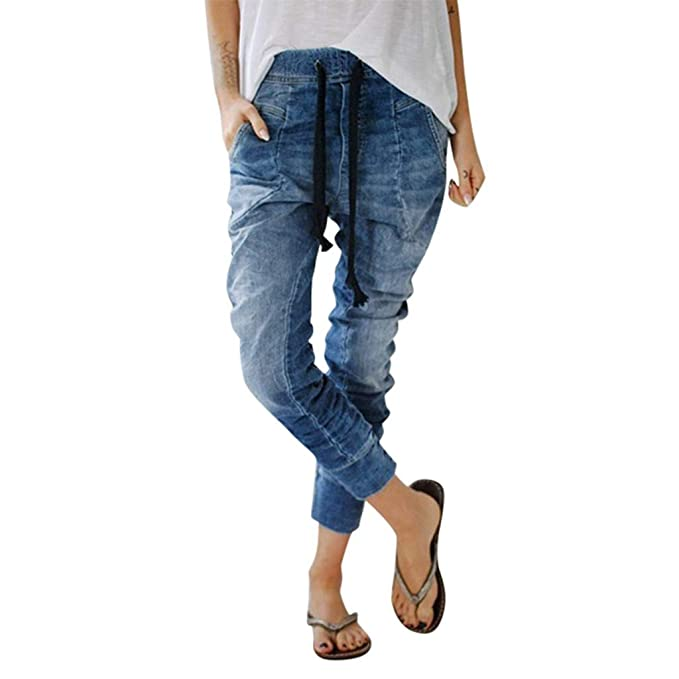 Vectry Mujers Drawstring Jeans Bolsillos Casual Denim Baggy ...