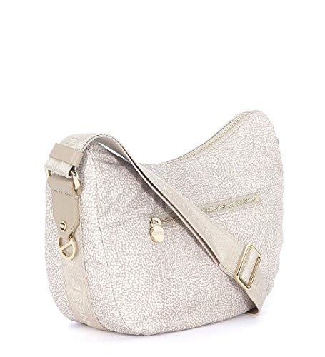 Sac à bandoulière Borbonese luna bag small c/tasca en tissu jet sable