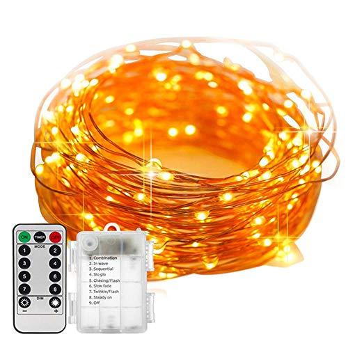 Roeam LED Lights, Led-lichtsnoer 5m voor Binnen, Koperdraadlamp, Kerstlicht met Timer, 8 Lichtmodi en Afstandsbediening