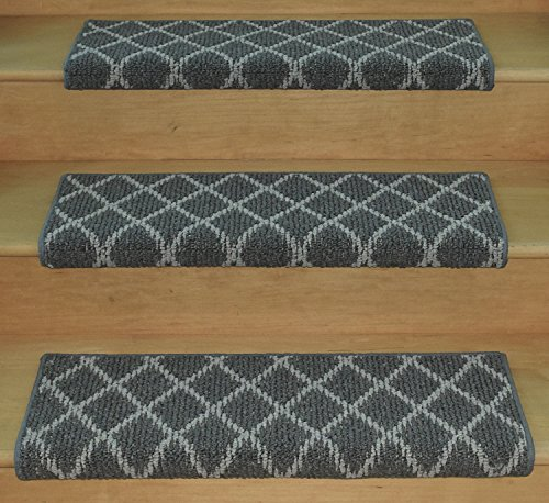 Jardin Wool Inspired Bullnose Carpet Stair Tread with Adhesive Padding - Villandry, by Tread Comfort (31