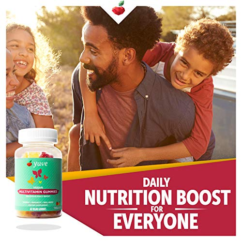 Yuve Vegan Multivitamin Gummies for Men and Women - Daily Energy, Strength, Immunity - Vitamin A, C, B3, B6, B12, Biotin & Zinc - Delicious Chewable Supplement - Non-GMO, Gluten & Gelatin-Free - 60ct