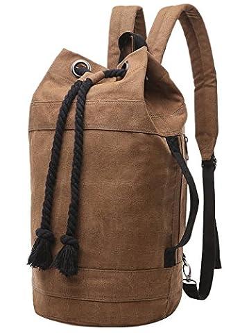 FEOYA Men's Canvas Backpack High Capacity Leisure Bag Barrel Backpack Bucket Duffel Bag Cylinder Bag Daypack Satchel with Laptop Compartment Size L (Bucket Cylinder)