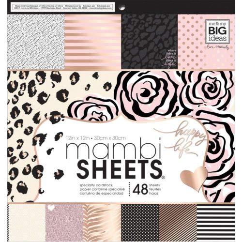 Mambi Single-Sided Paper Pad 12'X12' 48/Pkg-Black, White & Rose MMBPADX-316