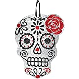 """Amscan Day of the Dead Halloween Party Sugar Skull Hanging Sign Decoration, Multicolor, 12"""" x 9 1/4"""""""