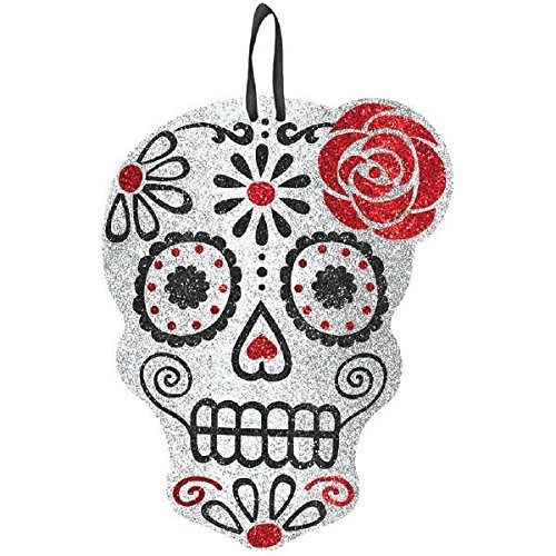 amscan Day of The Dead Halloween Party Sugar Skull Hanging Sign Decoration, Multicolor, 12