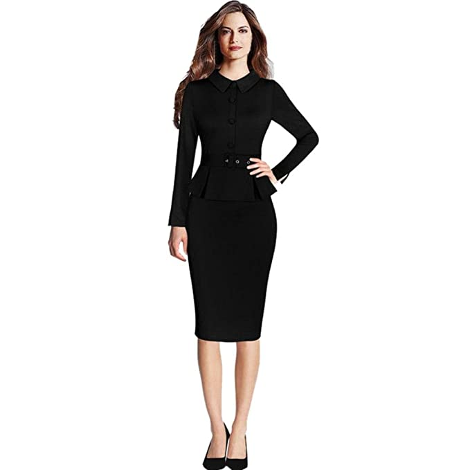 Amazon Com Viasa Dress Viasa Women Elegant Business Outfit Peplum