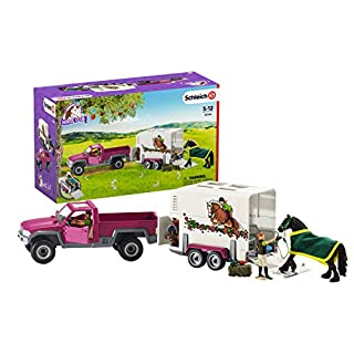 Schleich Horse Club Pick Up with Horse Box 15-piece Educational Playset for Kids Ages 5-12