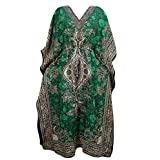 Womens House Dress Kaftan Green Dashiki Printed Caftan Boho Beach Cover up Caftan