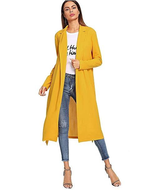 cff02898a096d Romwe Women's Casual Long Sleeve Lapel Collar Waterfall Trench Coat  Cardigan Outwear Yellow S