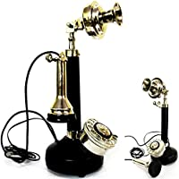 Contemporary Style Beautiful Table Decoor Candel Stick Phones Black & Silver Finish