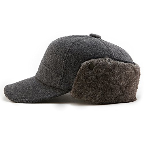 (Winter Baseball Cap with Ear Flap Hats Men Hunting Cold Weather Fitted Earflap Hats Wool Grey L XL SIGGI)