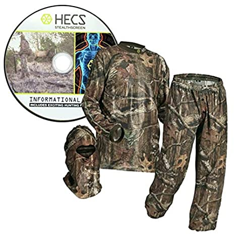 HECS Suit Deer Hunting Clothing with Human Energy Concealment Technology - Camo 3 Piece Shirt, Pants, Headcover - Lightweight Breathable in Mossy Oak Country & Realtree Xtra