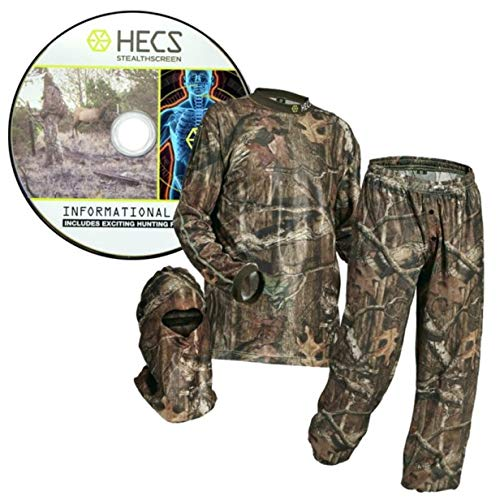 HECS Suit Deer Hunting Clothing with Human Energy Concealment Technology - Camo 3 Piece Shirt, Pants, Headcover - Lightweight Breathable in Mossy Oak Country & Realtree Xtra | Realtree, Medium