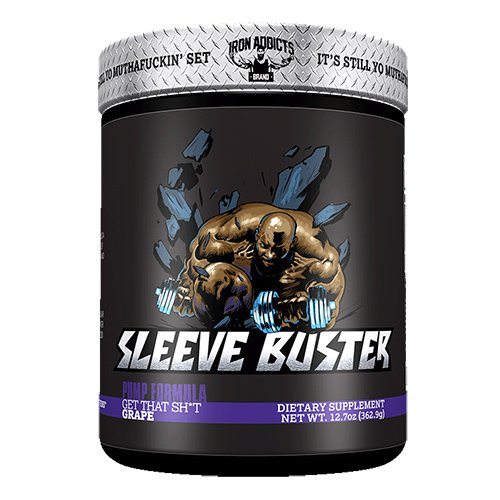 Sleeve Buster | Iron Addicts | Pre-Workout Pump Formula | Formulated By CT Fletcher (30 Servings, (Grape Iron)