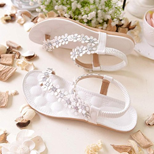 Inkach® Damen Sommer Böhmen Blumen Perlen Flip-Flop Schuhe Flache Zehensandalen Weiß