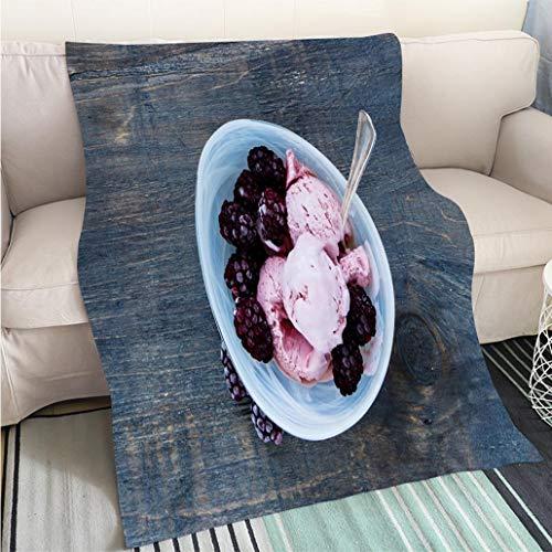 BEICICI Art Design Photos Cool Quilt Homemade BlackBerry ice Cream Living Room/Bedroom Warm Blanket