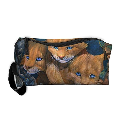 Lions Cubs Paintings Cosmetic Bags Brush Pouch Makeup Bag Zipper Wallet Hangbag Pen Organizer Carry Case Wristlet Holder -