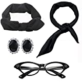 50's Costume Accessories Set Chiffon Scarf Cat Eye Glasses Bandana Tie Headband & Earrings (womens, Black)