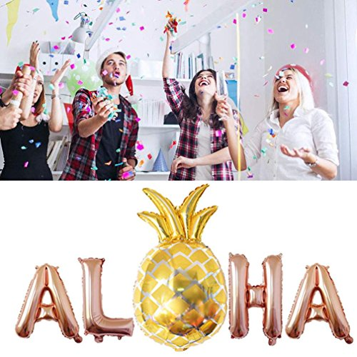 - Botrong Aloha Gold Foil Balloons Hawaii Party Banner Tropical Beach Party Decor (S/16 inch, Rose Gold)