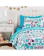 AmazonBasics Easy-Wash Microfiber Kid's Bed-in-a-Bag Bedding Set - Twin, Multi-Color Dream Big