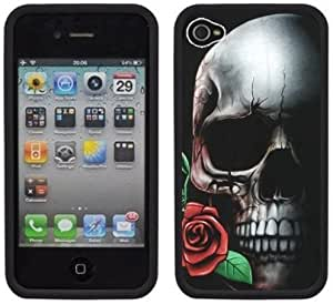 Skull Rose Handmade iPhone 4 4S Black Hard Plastic Case