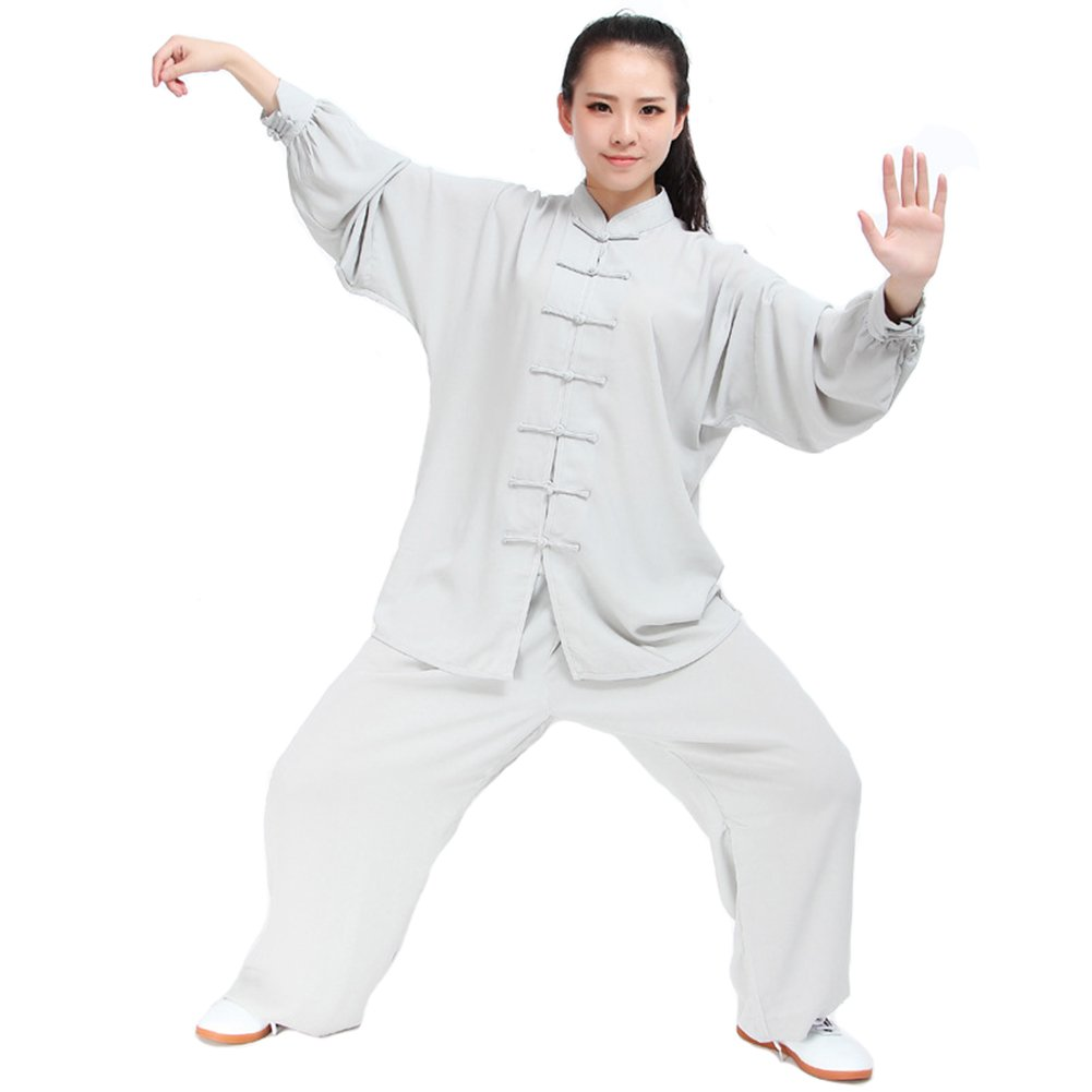 Itopfox Unisex Cotton Blend Kung Fu Tai Chi Uniform Martial Arts Wear Grey XL by Itopfox