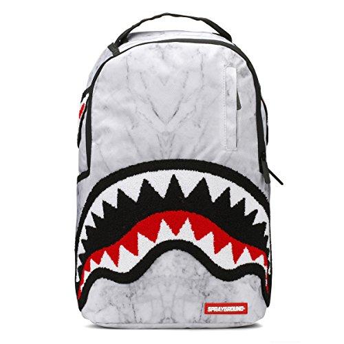 Sprayground White Marble Shark DLX Backpack - White Marble by Sprayground