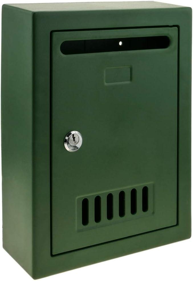 PrimeMatik - Buzón de plástico para Cartas y Correo Postal de Color Verde 205x80x273mm