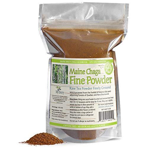 Cheap Maine USA Wild Harvested Raw Fine Chaga Mushroom Powder, 5oz, 300+Servings