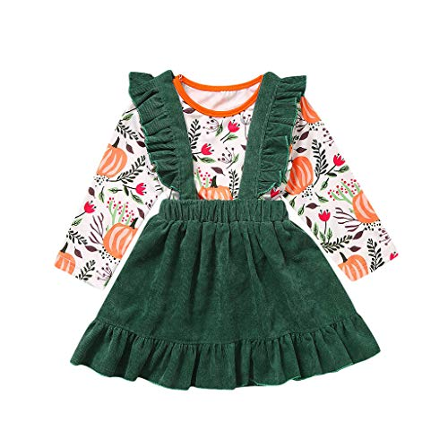 Goddesslili Baby Halloween Costumes, Cute Pumpkin T-Shirt and Suspender Skirts Outfits Sets for Girls 6 Mos to 4 Yrs White