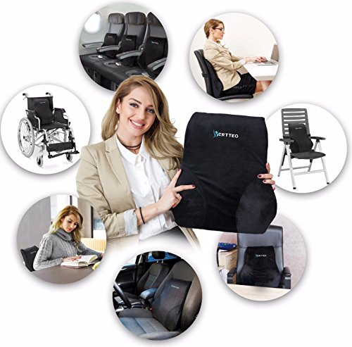 Vertteo Full Lumbar Black Support Premium Entire High Back Pillow Office Desk Chair Car Seat - Ergonomic Comfortable Memory Foam Cushion Relieves Couch Sofa Reading Lower Sciatica Pain