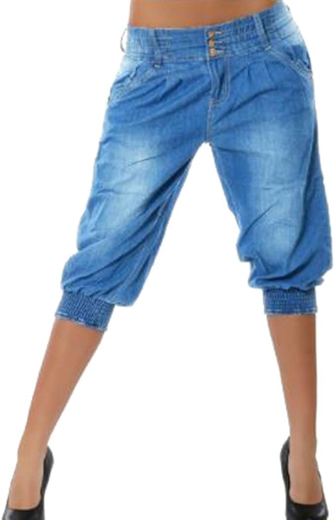 Mujer 3/4 Pantalón Corto Capri Pantalón Bermudas Denim Shorts ...