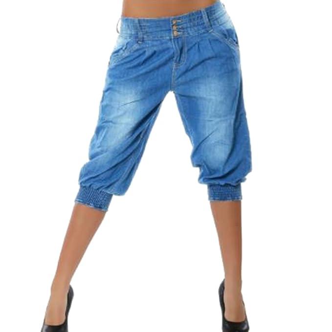f0787a3ef Mujer 3 4 Pantalón Corto Capri Pantalón Bermudas Denim Shorts Vaqueros  Tallas Grandes Suelto Rodilla de Pantalones 4 Colores S-5XL  Amazon.es   Ropa y ...
