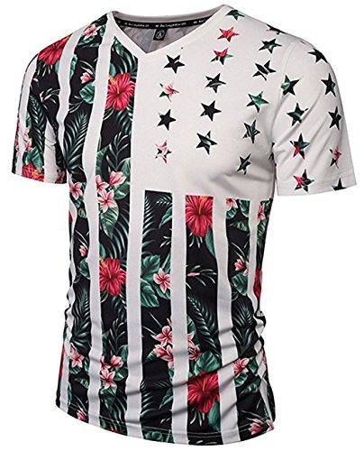 unisex-short-sleeve-v-neck-3d-contrast-strips-and-stars-floral-print-breathable-slim-t-shirtasia-l-u