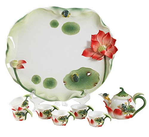 Collectable Fine Arts China Porcelain Handpainted Tea Pot with 4 Cups Frog Lotus (8pcs) ()