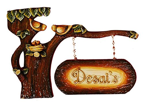 Craftedindia Tree Bark Design Wooden Name Plate by CraftedIndia
