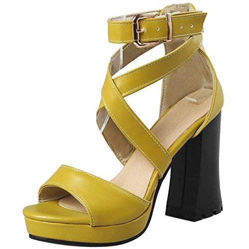 Sandales Talons JOJONUNU Chunky Yellow Femmes Soiree Mode g8gqnxXwS