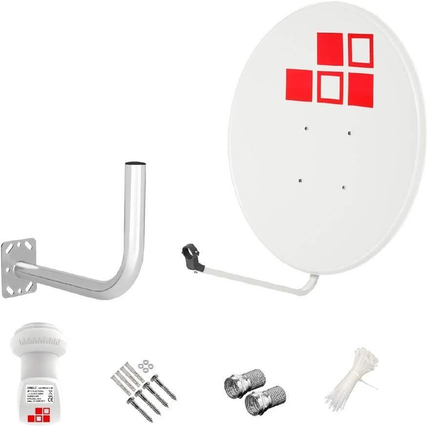 Diesl.com - Kit Antenas parabólicas de televisión satélite Digital - 80cm Blanca sin Logo + LNB Single 4K + Soporte + Tacos a Pared + Conectores + 10x ...