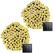Vmanoo Solar Christmas Lights, 72 Feet 22 Meter 200 LED 8 Modes String Lights, Waterproof Fairy Xmas Lights for Outdoor Indoor Wedding Holiday Party, Thanksgiving Day Decorations, 2 Pack (Warm White)