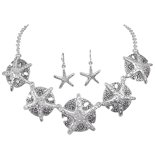 Gypsy Jewels Nautical Boutique Style Statement Necklace & Earrings Set (Starfish & Sand Dollar) -